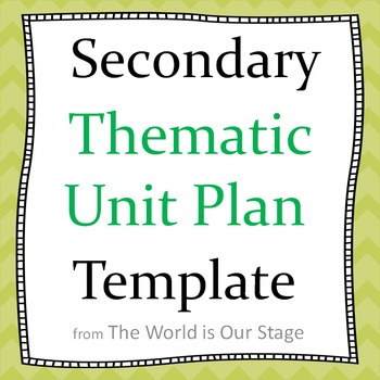 Secondary Thematic Topical Unit Plan Planning Template TpT