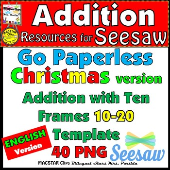 Seesaw Addition 10-20 Using a Ten Frame PNG Templates English