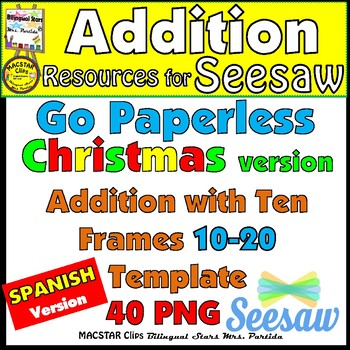 Seesaw Addition 10-20 Using a Ten Frame PNG Templates Spanish - ten frame template