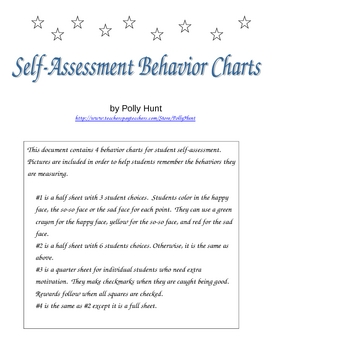 Self-Assessment Behavior Charts by Polly Hunt Teachers Pay Teachers