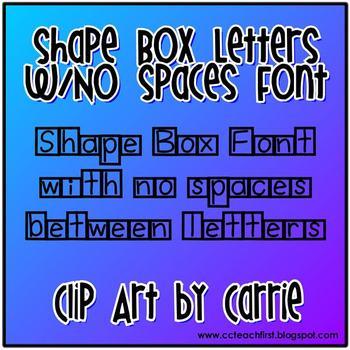 Shape Box Letters (No Space Between Letters) Font TpT