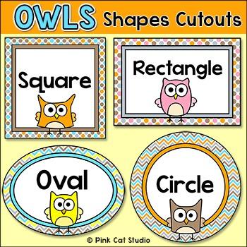 Shapes Cutouts- Owl Theme by Pink Cat Studio Teachers Pay Teachers