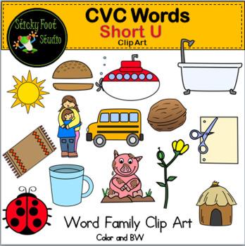 CVC Words Clip Art - Short U Words - Word Families by Sticky Foot Studio