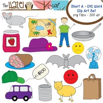 Short Vowel CVC Word Clip Art - Short a Vowel Sound Set by The Hazel Owl