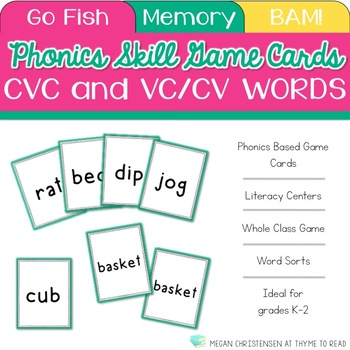 Short Vowel and VC/CV Words Cards by Thyme to Read TpT - cv words