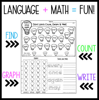 Sight Word Graphing Color, Graph  Write - First Grade Words TpT
