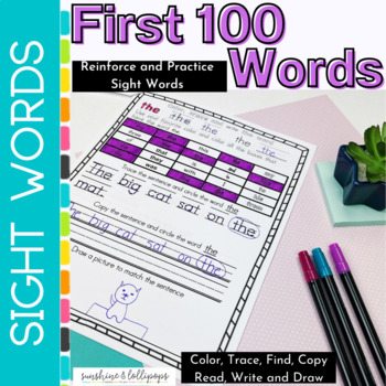 Sight Word Worksheets First 100 Fry Words by Sunshine and Lollipops