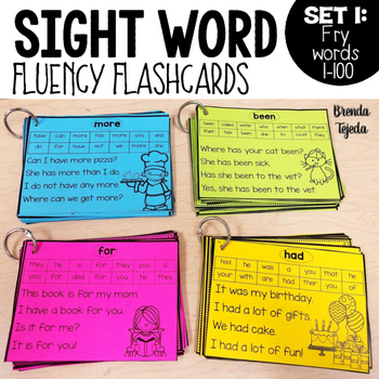 Sight Word Fluency Flashcards FRY Words 1-100 by Brenda Tejeda TpT - flash cards words