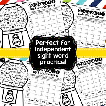 Sight Word Graphing {Pre-Primer, Primer, and First Grade Words} TpT