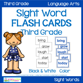 Sight Words Flash Cards - Third Grade by A Wellspring of Worksheets