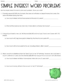 Simple Interest Word Problems Worksheet by Lindsay Perro | TpT