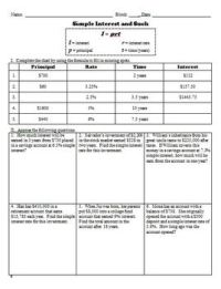 Simple Interest Math Worksheets - resultinfos