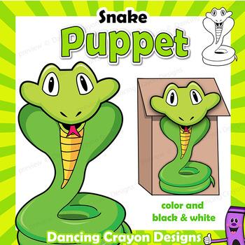 Puppet Snake Craft Activity Printable Paper Bag Puppet Cobra TpT