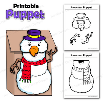 Snowman Craft Activity Printable Paper Bag Puppet Template TpT