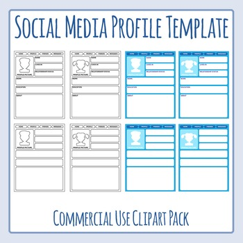 Social Media Profile Templates Clip Art for Commercial Use by - profile templates