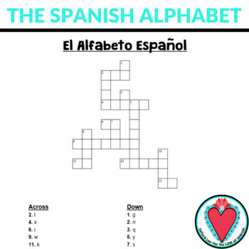 Spanish Alphabet Crossword by Senora Lee - for the LOVE of Spanish - alphabet in spanish