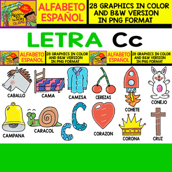 Spanish Alphabet Clipart Set - Letter C - 28 Items by Ready to Teach - alphabet in spanish