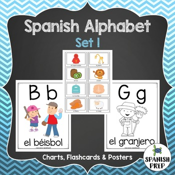 Spanish Alphabet Posters and Flashcards - Set 1 by Spanish Prep - spanish alphabet chart