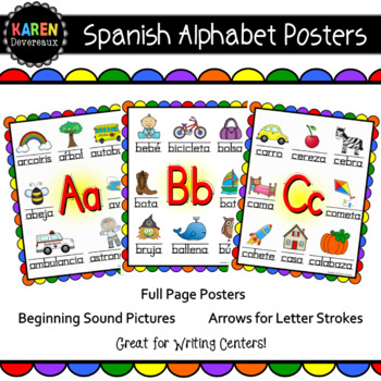 Spanish Alphabet Posters Teaching Resources Teachers Pay Teachers - alphabet in spanish