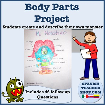 Spanish Body Parts Project and Presentation by SpanishPlans TpT - Presentation Project