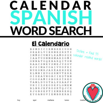 Spanish Calendar Word Search - Days of the Week, Months  Seasons
