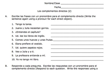 Spanish Direct Object Pronouns Practice Los Complementos