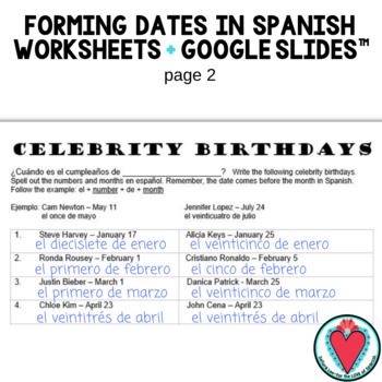 Spanish Calendar - Form Dates in Spanish Celebrity Birthdays TpT
