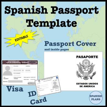 Spanish Passport Template and Visa by SpanishPlans TpT - passport template