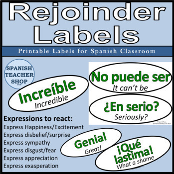 Spanish Rejoinders Word Wall Labels by SpanishPlans TpT