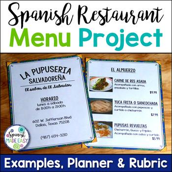 Spanish Restaurant Menu Project by Spanish Made Easy TpT - restaurant menu project examples