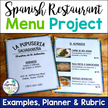 Spanish Restaurant Menu Project by Spanish Made Easy TpT
