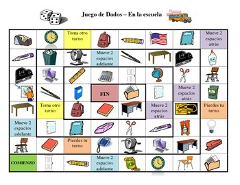 Spanish School Vocabulary Board Game By Exploring French