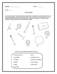 Spanish - Table Setting Worksheets by Donna Antovel | TpT