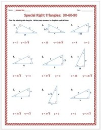 Special Right Triangles: 30-60-90 Practice Worksheet by Dr ...