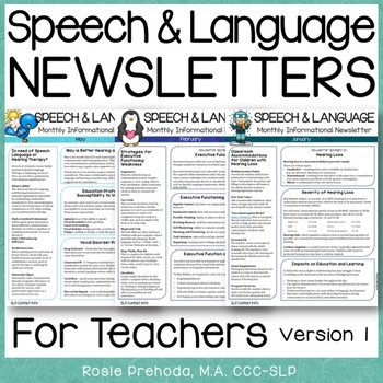 Speech  Language Monthly Newsletter for Teachers by Rosie Prehoda