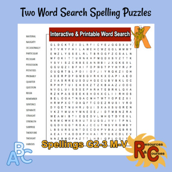 Spelling Interactive  Printable Word Search Puzzles for Grade 23