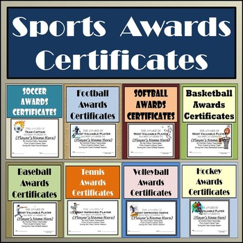 Sports Awards Bundle Certificates  Ballots - Eight Different Sports!
