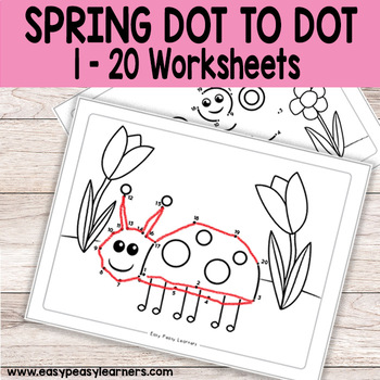 Spring Dot to Dot / Connect the Dots Worksheets 1-20 by Easy Peasy
