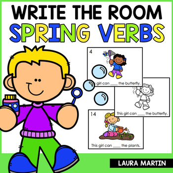 Spring Write the Room Action Verbs by Laura Martin TpT