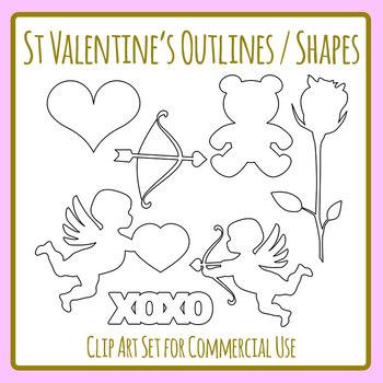 St Valentine\u0027s Day Outlines / Shapes Templates Clip Art Set for