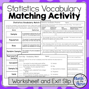 Statistics Vocabulary - Matching Activity, Worksheet and Assessment