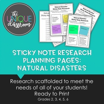 Sticky Note Research Planning Pages Natural Disasters by The Unique