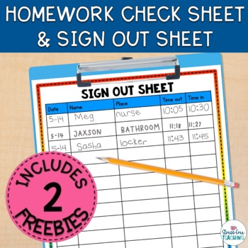 Stress-Free Classroom Sign Out Sheet by Stress-Free Teaching TpT