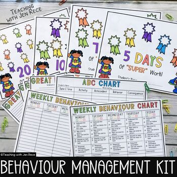 Weekly Behaviour Charts and Tally Sheets and ABC Chart {UK English}