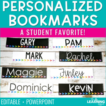 Personalized Bookmarks Editable by The Learning Effect TpT