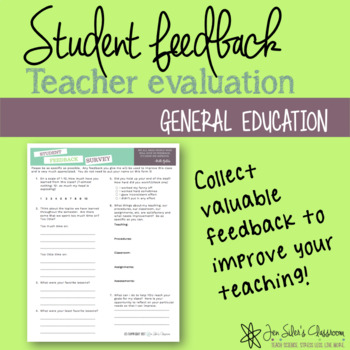 Student Feedback Form by Jen Siler\u0027s Classroom TpT