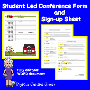 Student Led Conference Form and Sign-up Sheet by Rogita\u0027s Creative