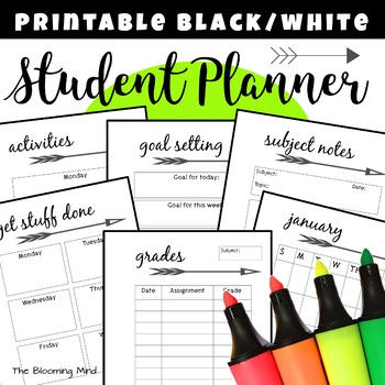 Student Planner by The Blooming Mind Teachers Pay Teachers