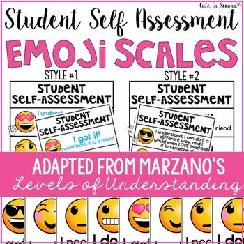 Student Self Assessment Emojis Marzano Scale Levels of Understanding - student self assessment