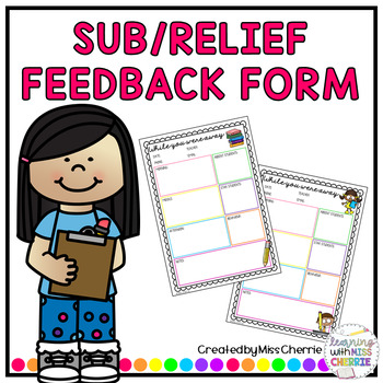 Substitute/Relief Teacher Feedback Form by Cherrie Resources TpT - substitute teacher feedback forms